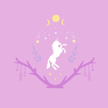 Unicorn in the night with starry sky and the moon. Fantasy style, magical forest dream conceptual illustration, tattoo art, symbol