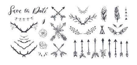 Boho style vector collection for tattoo, invitations, flyers, decor with feathers, branches of tree,wild flowers,arrows. Bohemian tribal set. Save the Date handwritten calligraphy