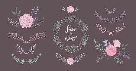 Floral vector set with bouquet with rose, peony, anemone, sakura, wild flowers. Hand drawn rustic isolated frames, borders, wreath . Save the date Illustration