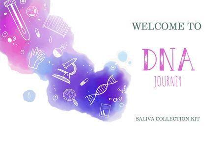 Ethnicité vectorielle et généalogie couverture du kit de test génétique ADN à domicile, modèle de conception, arrière-plan. Illustrations dessinées à la main de la recherche médicale sur le génome Vecteurs
