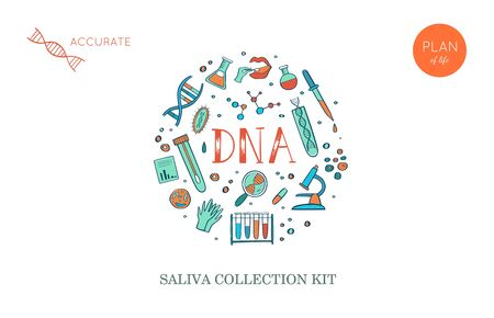 Vector Ethnicity and genealogy DNA genetic test home kit cover, design template, background. Hand drawn illustrations of medical genome research equipment. Illusztráció