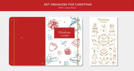Before Merry Christmas organizer, planner, notepad, diary with vector hand drawn illustrations and handwritten calligraphy. Happy new year vintage elements. Get organized for ChristmasReady for print