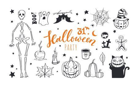 Vector doodle Halloween night collection. Spooky and scary night, pumpkin, skeleton, cat Ilustração