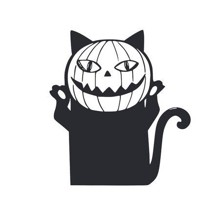 Pumpkin cat . vector hand drawn cartoon doodle