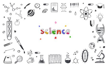 Vector hand drawn Science and Education doodle Frame . DNA, Biology, Astronomy and other