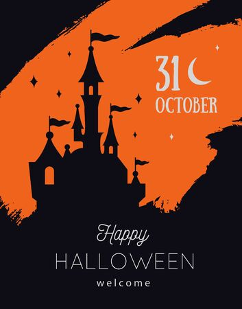 Vector Halloween party invitations or sale poster, banner. Festive autumn background with castle