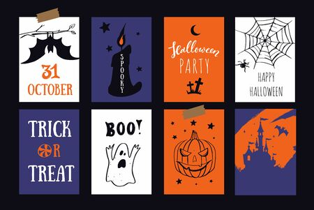 Set of vector Halloween party banners, invitations cards with hand drawn