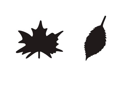 Autumn leaves vector silhuette. Black on white