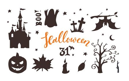 Vector collection of Halloween night silhouettes ,icons and characters. Design templates