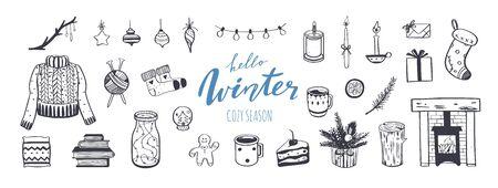 Hallo Winter und Frohe Weihnachten Vektor handgezeichnete Set. Glückwunsch zum Neujahrsfest. Gemütliche Kollektion im Vintage-Stil. Kamin, Weihnachtsbaum, Dekorationen und festliche Attribute