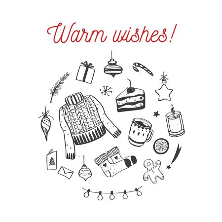 Merry Christmas and Happy New year vector card. Warm wishes concept with hand drawn vintage