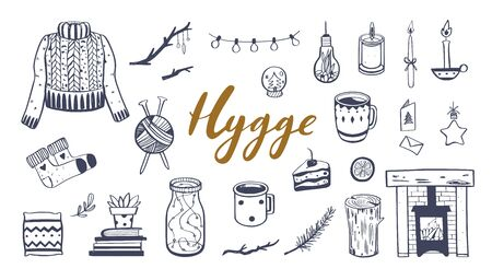 Danish lifestyle concept- Hygge. Vector hand drawn illustrations . Cozy elements for Winter season. Fireplace, candles, cacao and other hygge