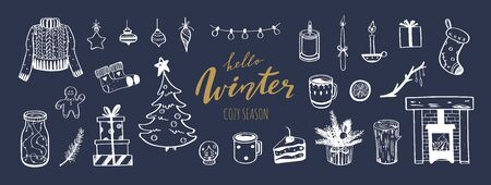 Hello Winter and Merry Christmas vector hand drawn set. New year holiday congratulation. Cozy vintage styled collection. Fireplace, christmas tree, decorations and festive attributes