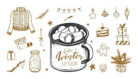 Hello Winter and Merry Christmas vector hand drawn set. New year holiday inspirational mood. Cozy vintage styled collection. Cacao mug, christmas tree, decorations