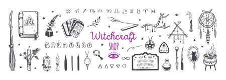 Witchcraft, magic shop for witches and wizards. Wicca and pagan tradition. Vector vintage collection. Hand drawn elements candles, book of shadows, potion, tarot
