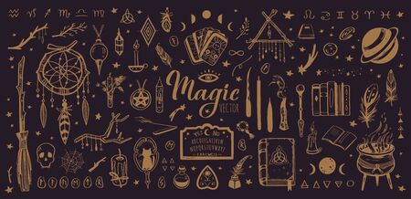 Witchcraft, magic background for witches and wizards. Wicca and pagan tradition. Vector vintage collection. Hand drawn elements candles, book of shadows, potion, tarot