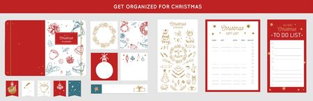 Merry Christmas organizer, planner, notepad, diary with vector hand drawn illustrations and handwritten calligraphy. Happy new year vintage elements. Get organized for Christmas Ilustração