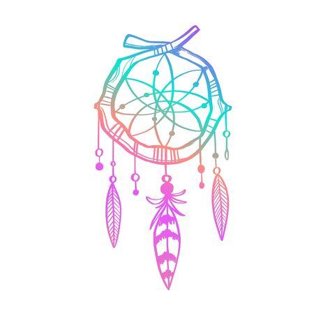 Magic indian Dreamcatcher. Vector hand drawn doodle illustration, tattoo sketch. Witchcraft Ilustração