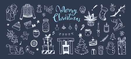 Merry Christmas and Happy New year Vector cozy styled set. Hand drawn winter elements. Christmas tree, sweater, fireplace and other decor Ilustração