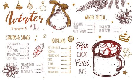 Winter special seasonal Vector menu template, brochure. Merry Christmas and Happy new year hand drawn illustrations, Lettering and calligraphy. Hot drinks and cacao vintage Illustration