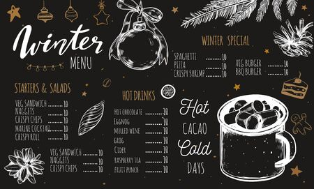 Winter special seasonal Vector menu template, brochure. Merry Christmas and Happy new year hand drawn illustrations, Lettering and calligraphy. Hot drinks and cacao vintage Ilustração