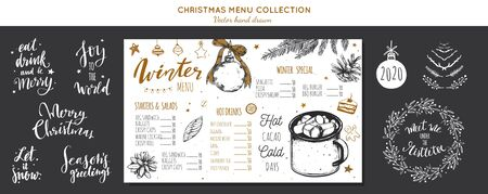 Winter special seasonal Vector menu chalkboard template, brochure. Merry Christmas and Happy new year hand drawn illustrations, Lettering and calligraphy. Hot drinks and cacao vintage