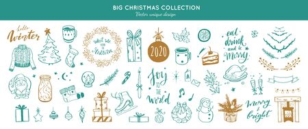 Big Merry Christmas and happy New Year festive vector collection. Different hand drawn doodle elements, Christmas tree, fireplace, coxy sweater, Winter holidays. Handwritten Lettering.
