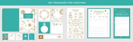 Merry Christmas organizer, planner, notepad, diary with vector hand drawn illustrations and handwritten calligraphy. Happy new year vintage elements. Get organized for ChristmasReady for print Ilustração