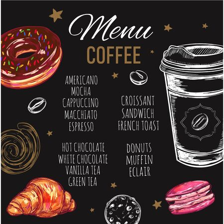 Coffee and Bakery restaurant Menu, brochure. Vector hand drawn template with sketch illustrations and handwritten Chalkboard Ilustração