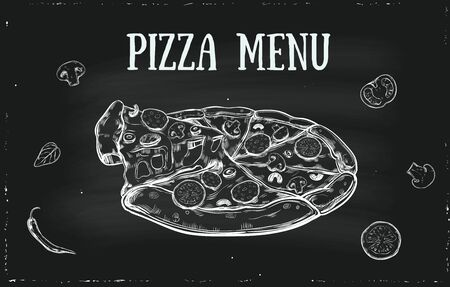 Vector hand drawn Pizza menu cover with vegetables. Vintage, retro template for italian restaurans