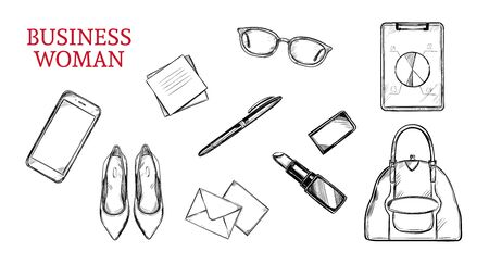 Business woman vector hand drawn concept. Workplace, flat lay background Ilustração