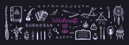Witchcraft, magic background for witches and wizards. Wicca and pagan tradition. Vector vintage collection. Hand drawn elements candles, book of shadows, potion, tarot cards Ilustracje wektorowe