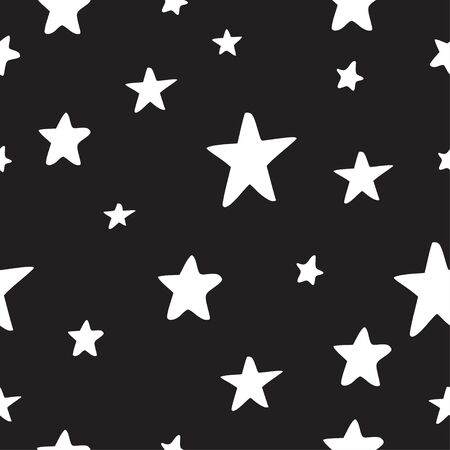 Seamless pattern, vector background with different stars. Bright and colorful backdrop for Christmas and New Year party, packaging and other Ilustração