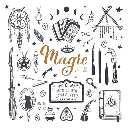 Witchcraft, magic background for witches and wizards. Wicca and pagan tradition. Vector vintage collection. Hand drawn elements candles, book of shadows, potion, tarot cards