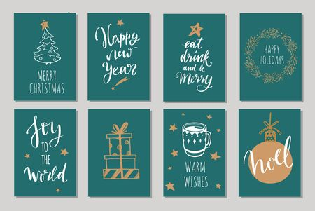 Christmas and New Year tags and labels vector collection. Merry Christmas handwritten Lettering