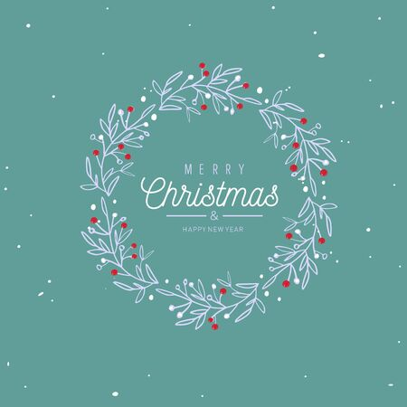 Merry Christmas and New Year words on Christmas tree frame decoration. Vector hand drawn Lettering. Vintage style Ilustração