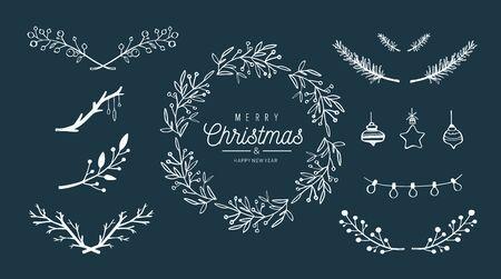 Merry Christmas vector hand drawn decoration set. Christmas wreath, mistletoe brunches, berries, decor