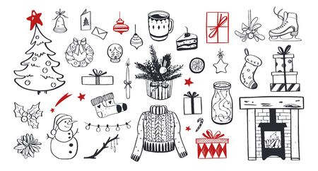 Big Merry Christmas and happy New Year festive vector collection. Different hand drawn doodle elements, Christmas tree, fireplace, cozy sweater, Winter holidays attributes. Ilustração