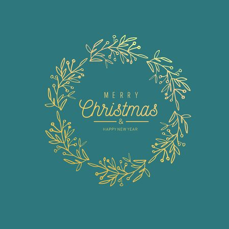 Merry Christmas and New Year words on Christmas tree frame decoration. Vector hand drawn Lettering. Vintage Illustration