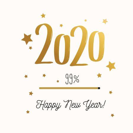 Merry christmas and Happy new year 2020 banner, background. Loading bar concept illustration Ilustração