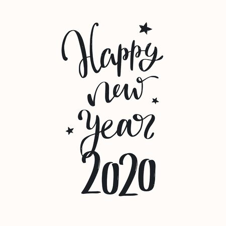 Happy New year 2020 vector handwritten lettering and calligraphy