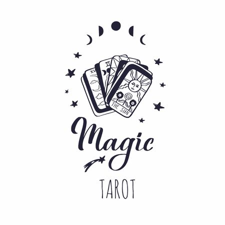 Vintage Tarot deck vector illustration. Hand drawn style. Occult symol of sun and moon phases. Magic and Witchcraft