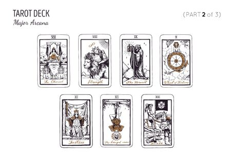 Tarot card deck. Major arcana set part 2 of 3 . Vector hand drawn engraved style. Occult and alchemy . The hanged man, chariot, strength, death, justice, wheel of fortune, hermit