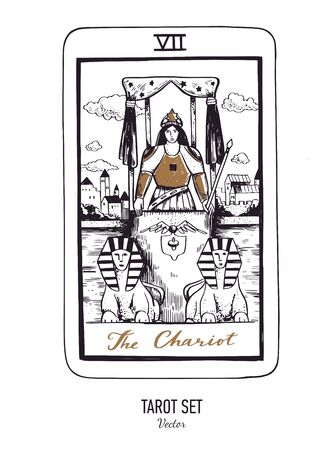 Vector hand drawn Tarot card deck. Major arcana the Chariot. Engraved vintage style. Occult, spiritual and alchemy