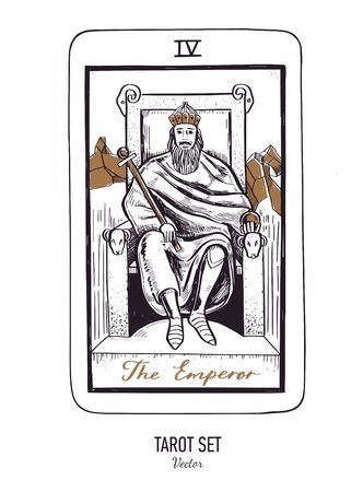 Vector hand drawn Tarot card deck. Major arcana the Emperor. Engraved vintage style. Occult, spiritual and alchemy