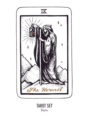 Vector hand drawn Tarot card deck. Major arcana the Hermit. Engraved vintage style. Occult, spiritual and alchemy symbolism Illustration