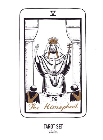 Vector hand drawn Tarot card deck. Major arcana the Hierophant. Engraved vintage style. Occult, spiritual and alchemy