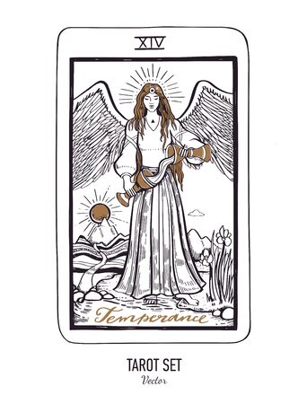 Vector hand drawn Tarot card deck. Major arcana Temperance. Engraved vintage style. Occult, spiritual and alchemy symbolism