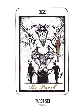 Vector hand drawn Tarot card deck. Major arcana Justice. Engraved vintage style. Occult, spiritual and alchemy symbolism Illustration