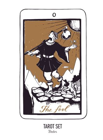 Vector hand drawn Tarot card deck. Major arcana The fool. Engraved vintage style. Occult and alchemy Illustration